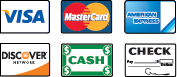 We Accept Visa, MasterCard, American Express, Discover, Cash and Checks